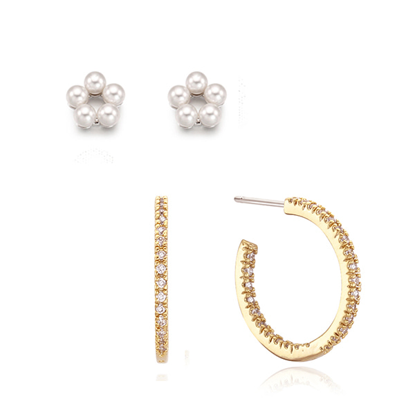 [아이린,장윤주,손예진 착용][SET]Petit Flower Earring + Daily Crystal Hoop Earring