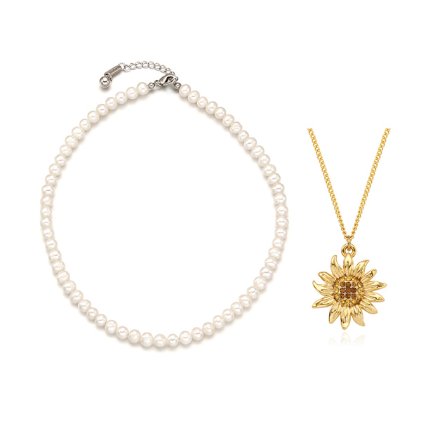 [2SET]Essential Pearl n Vintage Sunflower Necklace