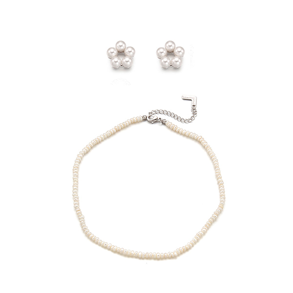 [SET]Petit Flower Earring +Margaret Pearl Layered Necklace