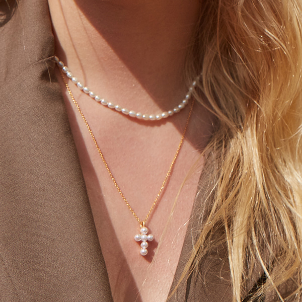 [2SET]Mini Pearl Cross Layered Necklace