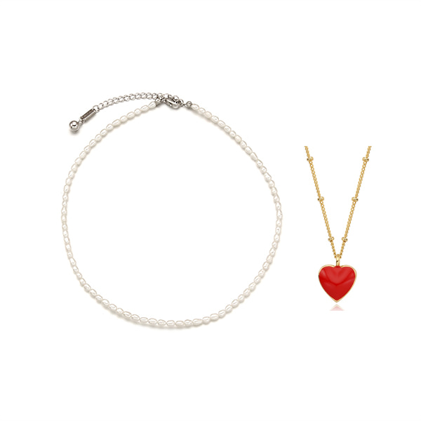 [2SET]Essential Pearl n Alice Heart Necklace