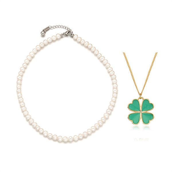 [2SET]Essential Pearl n Lucky Clover Necklace