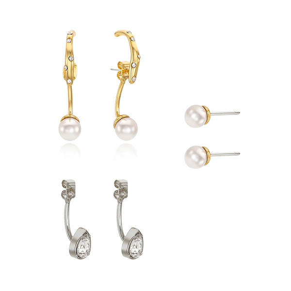 [SET]Four-way Drop Earcuff Earring