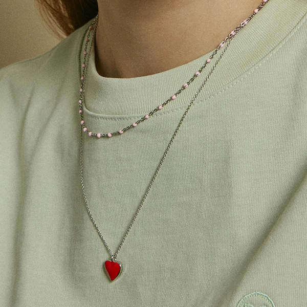 [2SET]Color Dot n Alice Heart Necklace
