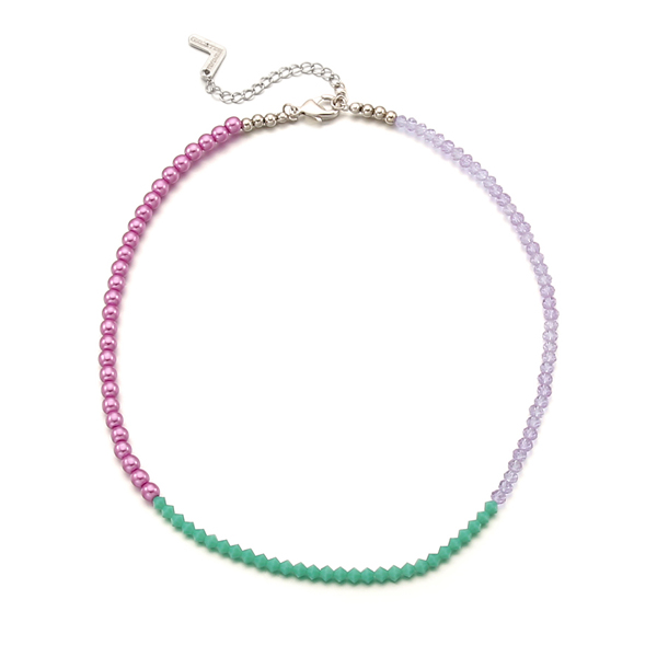 [태연 착용]Color Spread Beads Necklace_Violet