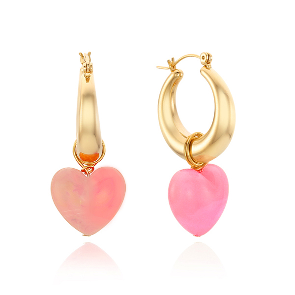 40% Candy Heart Hoop Earring_Pink