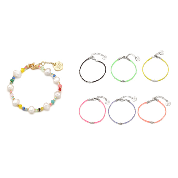 [3SET]Pearl Crystal n Candy Beads Bracelet_6color (캔디 두개 선택)