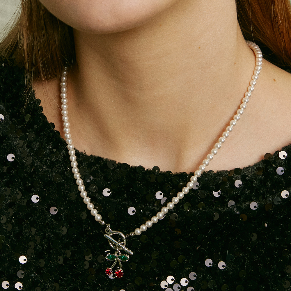 Cherry Drop Pearl Necklace